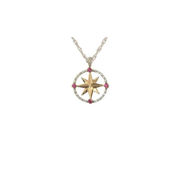 14ktt Med Compass w/Dias and Rubies Stephen Gallant Jewelers Orleans, MA
