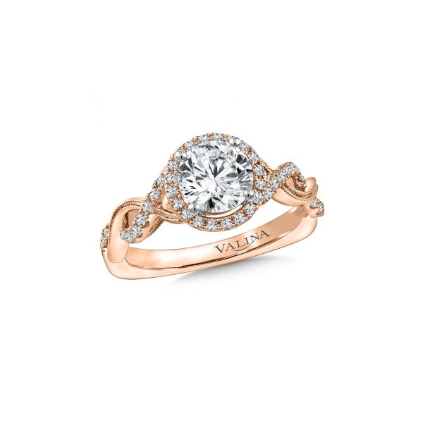 Rose Gold Halo Engagement Stephen Gallant Jewelers Orleans, MA
