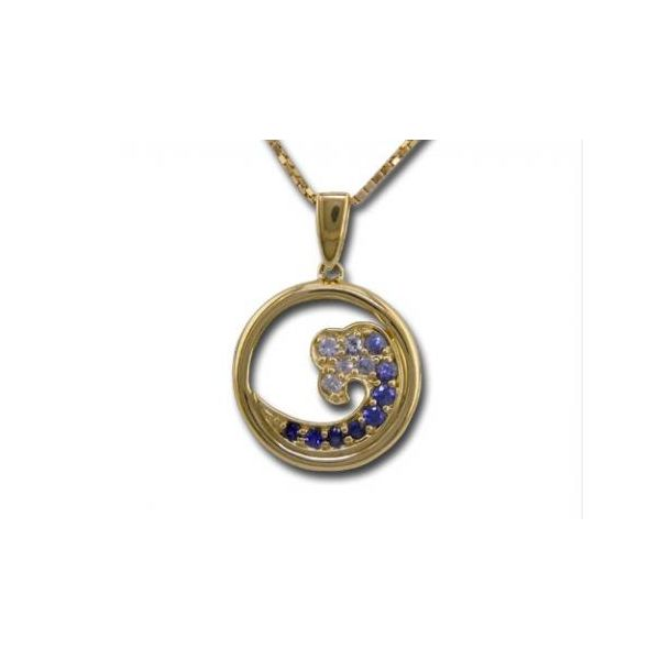 Small Sapphire Wave Pendant Stephen Gallant Jewelers Orleans, MA