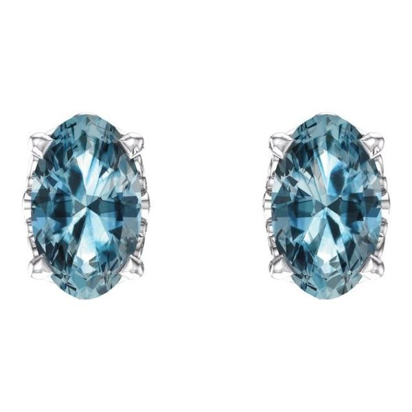 Oval 4-Prong Scroll Setting® Earrings Image 2 Diamondneed Inc New York City, NY