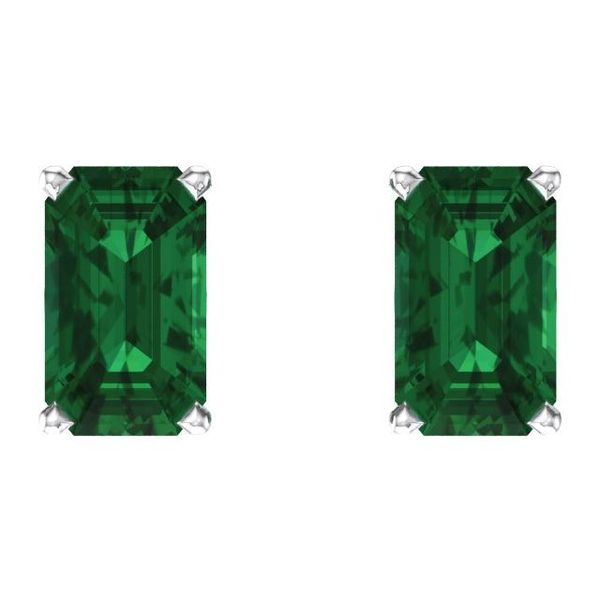 Emerald Scroll Setting® Earrings  Image 2  ,