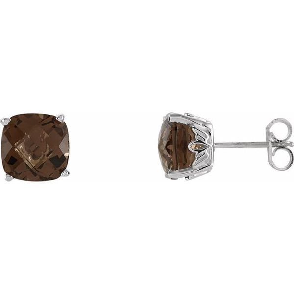 Cushion 4-Prong Scroll Setting® Earrings  Diamondneed Inc New York City, NY