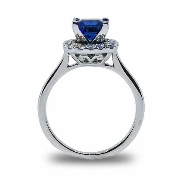 Princess Cut Chatham Sapphire Halo Ring Image 2 Grogan Jewelers Florence, AL