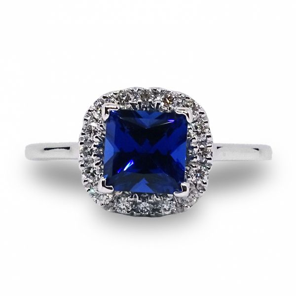 Princess Cut Chatham Sapphire Halo Ring Image 3 Grogan Jewelers Florence, AL