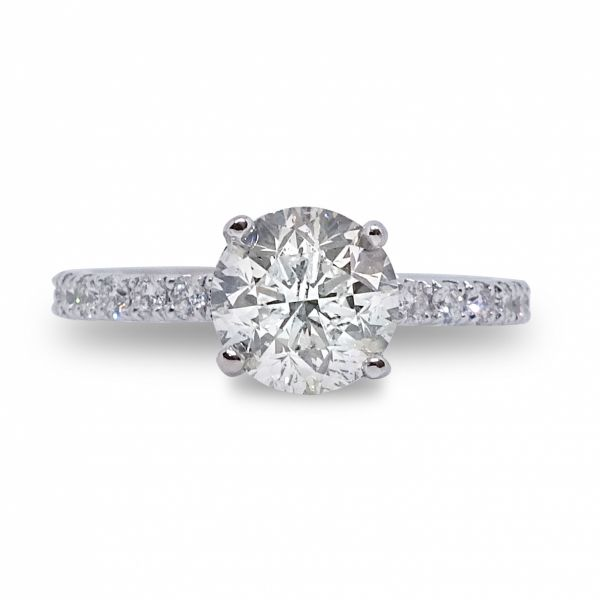 Round Cut Diamond Ring in White Gold Image 3 Grogan Jewelers Florence, AL