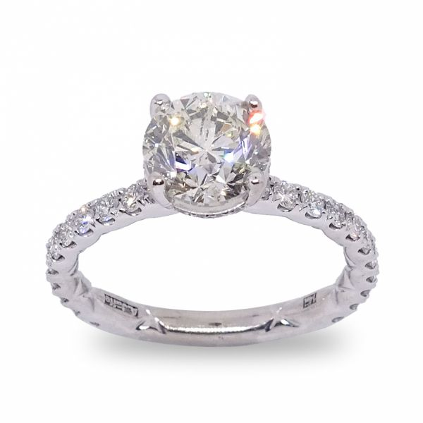 Round Cut Diamond Ring in White Gold Grogan Jewelers Florence, AL