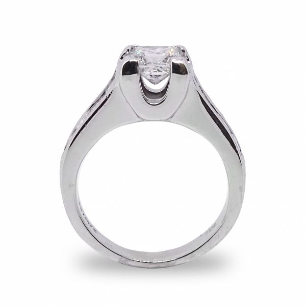 Princess Cut with 8 Channel Set Diamonds Engagement Ring in White Gold Image 2 Grogan Jewelers Florence, AL