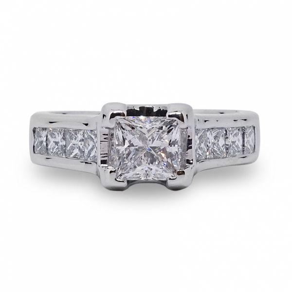 Princess Cut with 8 Channel Set Diamonds Engagement Ring in White Gold Image 3 Grogan Jewelers Florence, AL