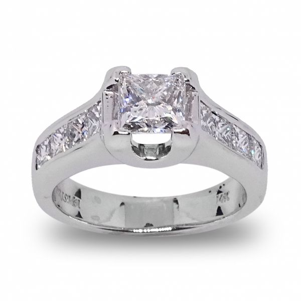 Princess Cut with 8 Channel Set Diamonds Engagement Ring in White Gold Grogan Jewelers Florence, AL