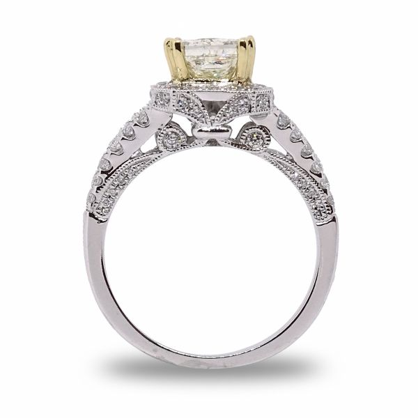 Princess Cut Halo Engagement Ring in White and 18K Yellow Gold Image 2 Grogan Jewelers Florence, AL