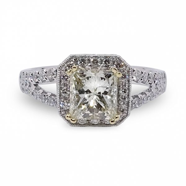 Princess Cut Halo Engagement Ring in White and 18K Yellow Gold Image 3 Grogan Jewelers Florence, AL