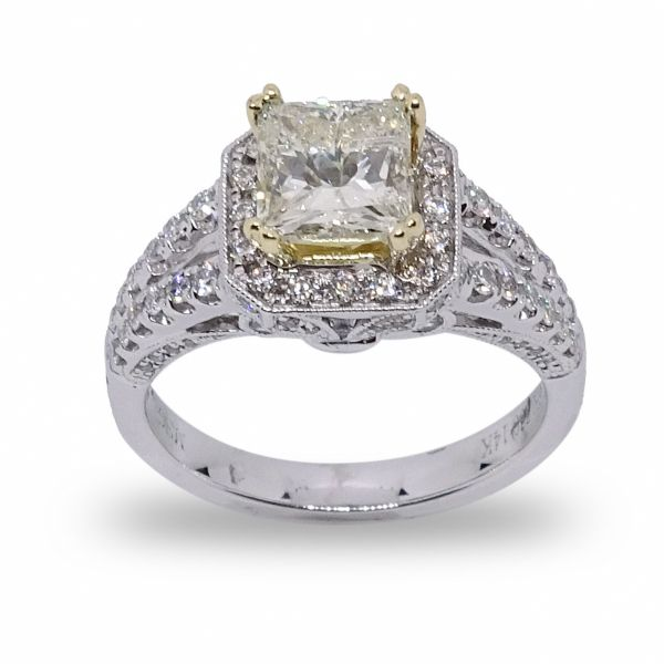 Princess Cut Halo Engagement Ring in White and 18K Yellow Gold Grogan Jewelers Florence, AL