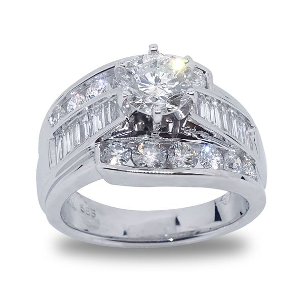 Round Brilliant Center Diamond with Baguette and Round Diamond Channel Set Engagement Ring in White Gold Grogan Jewelers Florence, AL