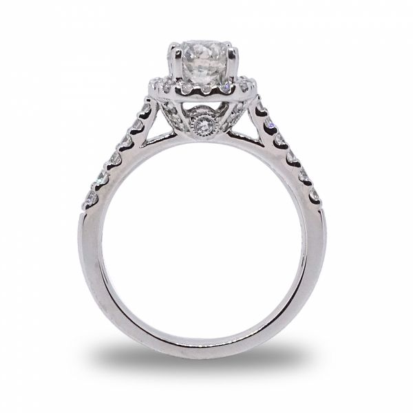 Round Brilliant Cut Diamond Halo Engagement Ring in White Gold Image 2 Grogan Jewelers Florence, AL