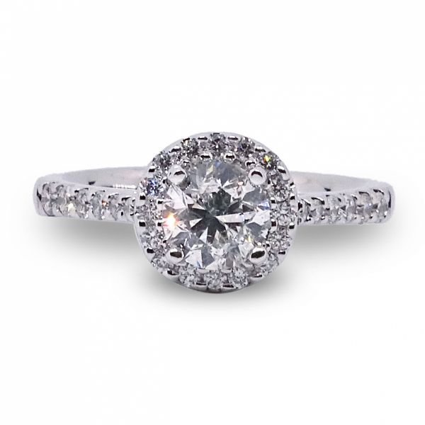 Round Brilliant Cut Diamond Halo Engagement Ring in White Gold Image 3 Grogan Jewelers Florence, AL