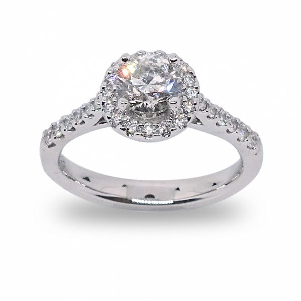 Round Brilliant Cut Diamond Halo Engagement Ring in White Gold Grogan Jewelers Florence, AL