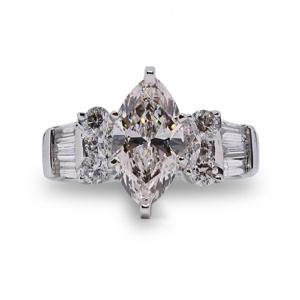 Lab Created Marquis Diamond, Baguette and Round Diamonds in White Gold Image 3 Grogan Jewelers Florence, AL