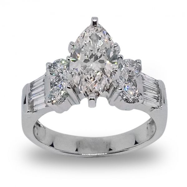 Lab Created Marquis Diamond, Baguette and Round Diamonds in White Gold Grogan Jewelers Florence, AL