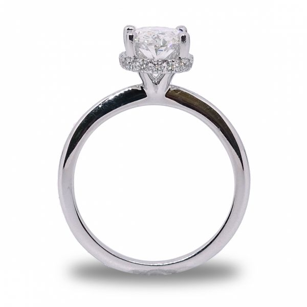 Lab Created Oval Hidden Halo Engagement Ring in White Gold Image 2 Grogan Jewelers Florence, AL