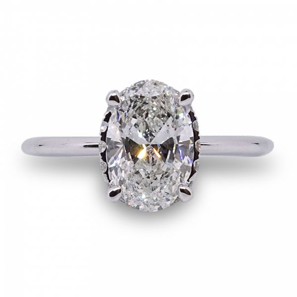 Lab Created Oval Hidden Halo Engagement Ring in White Gold Image 3 Grogan Jewelers Florence, AL