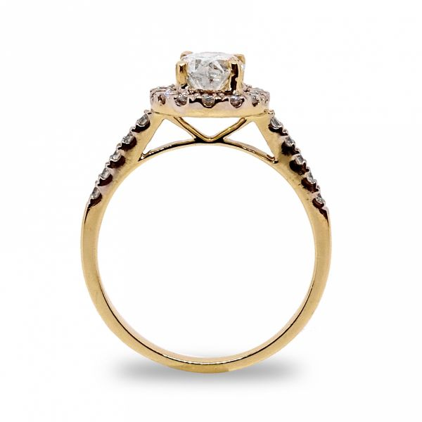 Oval Cut Halo Wedding Set in Yellow Gold Image 2 Grogan Jewelers Florence, AL