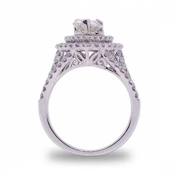 Pear Shape Double Halo Engagement Ring in White Gold Image 2 Grogan Jewelers Florence, AL