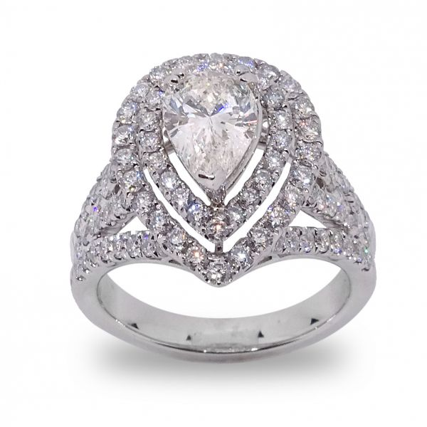 Pear Shape Double Halo Engagement Ring in White Gold Grogan Jewelers Florence, AL