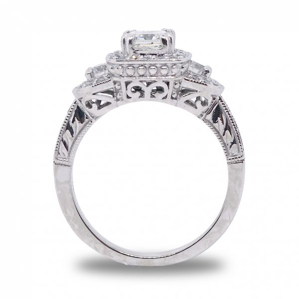 Radiant Cut Diamond, PPF style, Engagement Ring in White Gold Image 2 Grogan Jewelers Florence, AL