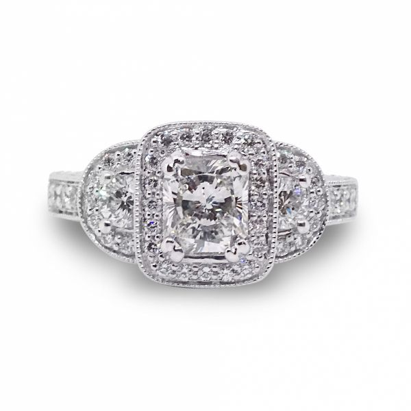 Radiant Cut Diamond, PPF style, Engagement Ring in White Gold Image 3 Grogan Jewelers Florence, AL