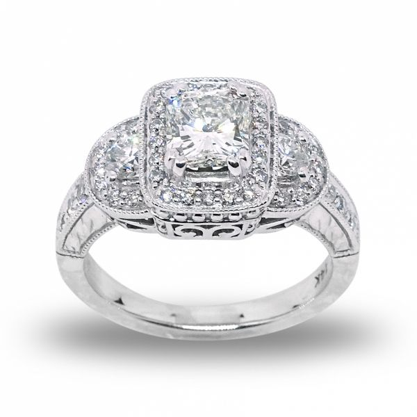 Radiant Cut Diamond, PPF style, Engagement Ring in White Gold Grogan Jewelers Florence, AL
