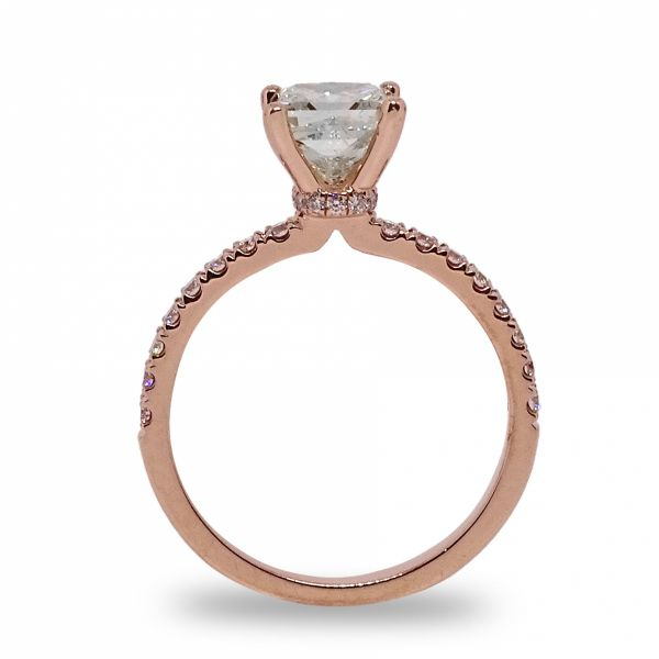 Princess Cut Hidden Halo with Diamonds Shank Engagement Ring in Rose Gold Image 2 Grogan Jewelers Florence, AL