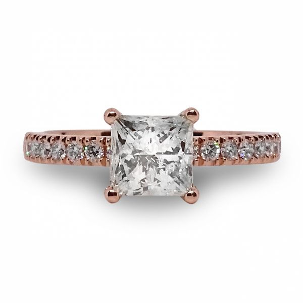 Princess Cut Hidden Halo with Diamonds Shank Engagement Ring in Rose Gold Image 3 Grogan Jewelers Florence, AL