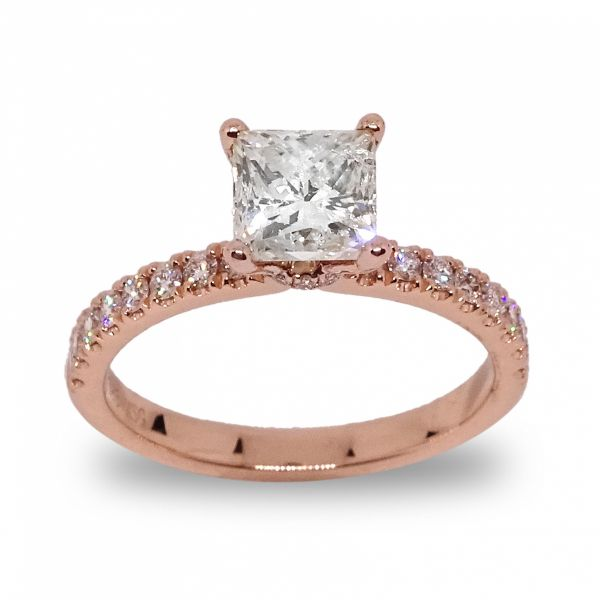 Princess Cut Hidden Halo with Diamonds Shank Engagement Ring in Rose Gold Grogan Jewelers Florence, AL