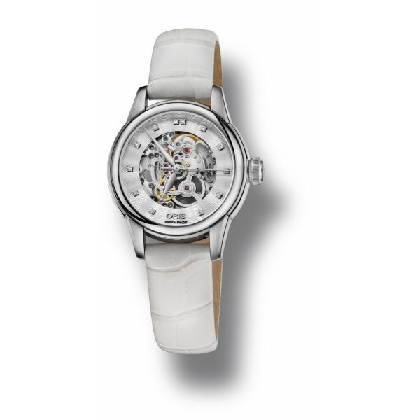 Oris Artelier Skelton Diamonds with Ladies White Leather strap and White mother of pearl dial Grogan Jewelers Florence, AL