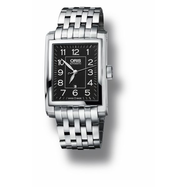 Oris Rectangular Date and Stainless steel bracelet with Black dial Grogan Jewelers Florence, AL