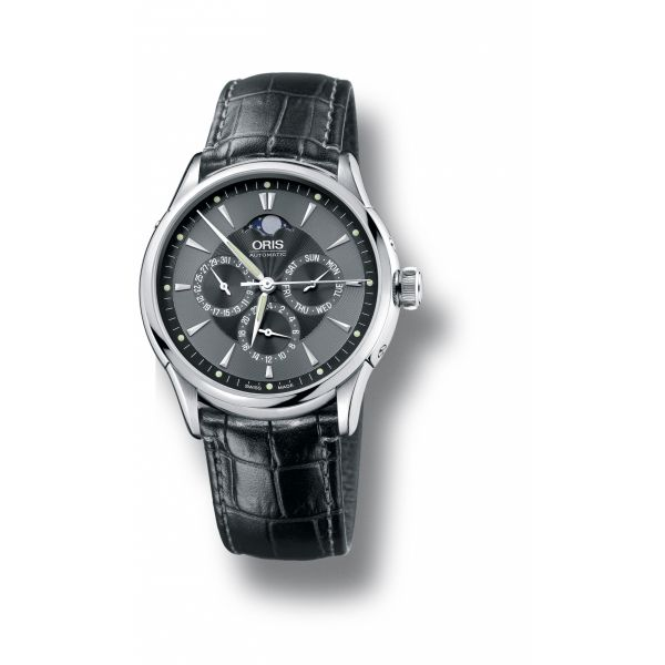 Oris Artelier Complication 2007 with leather strap and black dial Grogan Jewelers Florence, AL
