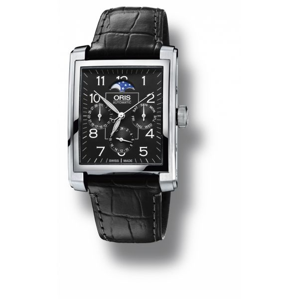 Oris Rectangular Complication with leather strap and black dial Grogan Jewelers Florence, AL