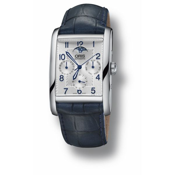 Oris Rectangular Complication with leather strap and silver dial Grogan Jewelers Florence, AL