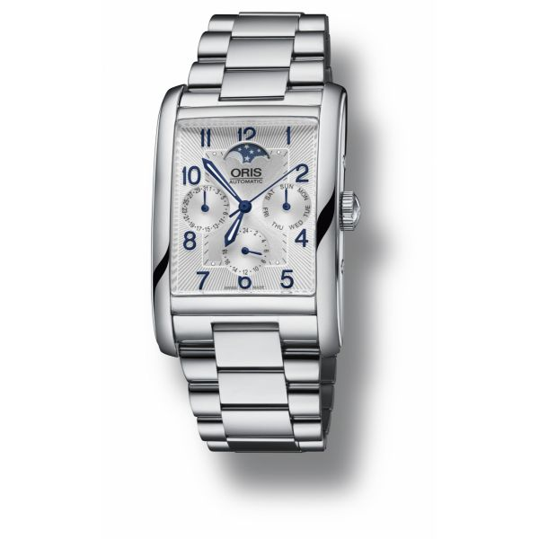 Oris Rectangular Complication with stainless steel bracelet and silver dial Grogan Jewelers Florence, AL