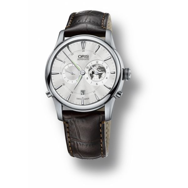 Oris Greenwich Mean Time Limited Edition, Leather strap and silver dial Grogan Jewelers Florence, AL