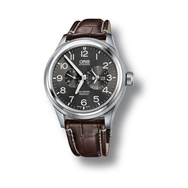 Oris Big Crown ProPilot Worldtimer, Leather strap and grey dial Grogan Jewelers Florence, AL