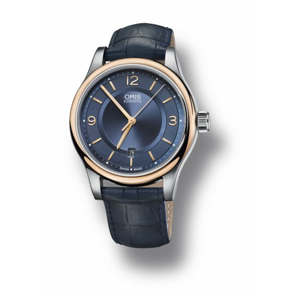 Oris Classic Date, Stainless steel / gold plated case, leather strap and blue dial Grogan Jewelers Florence, AL