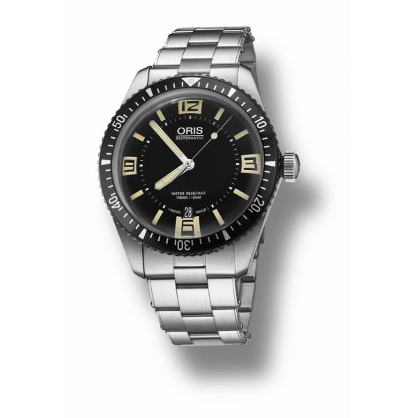 Oris Divers Sixty Five, Stainless Steel bracelet with black dial Grogan Jewelers Florence, AL