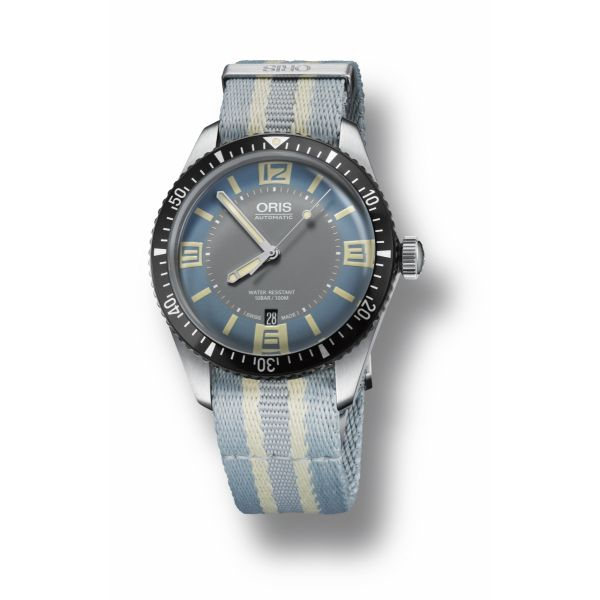 Oris Divers Sixty-Five, Textile strap with blue dial Grogan Jewelers Florence, AL