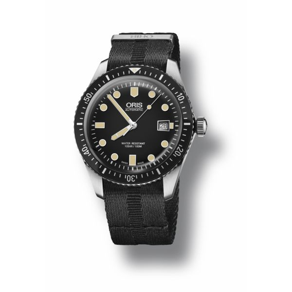 Oris Divers Sixty-Five, Tonal stripe textile strap with black dial Grogan Jewelers Florence, AL