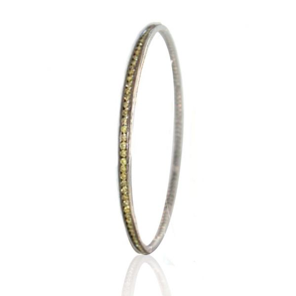 The Channel Bangle with Green Diamonds in White Gold Black Rhodium Grogan Jewelers Florence, AL