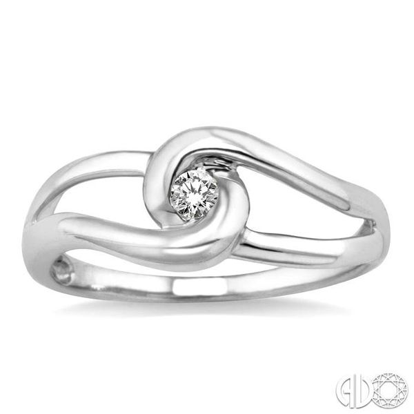 1/20 Ctw Round Cut Diamond Ring in 14K White Gold Image 2 Grogan Jewelers Florence, AL