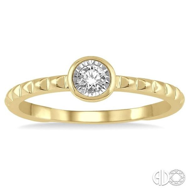 1/50 Ctw Round Cut Diamond Promise Ring in Pyramid Cutwork 10K Yellow Gold Image 2 Grogan Jewelers Florence, AL