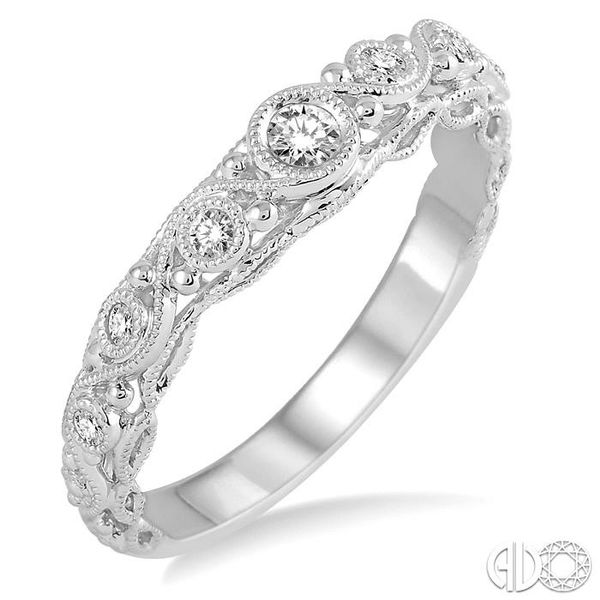 1/6 Ctw Round Cut Vintage Cutwork Diamond Wedding Band in 14K White Gold Grogan Jewelers Florence, AL