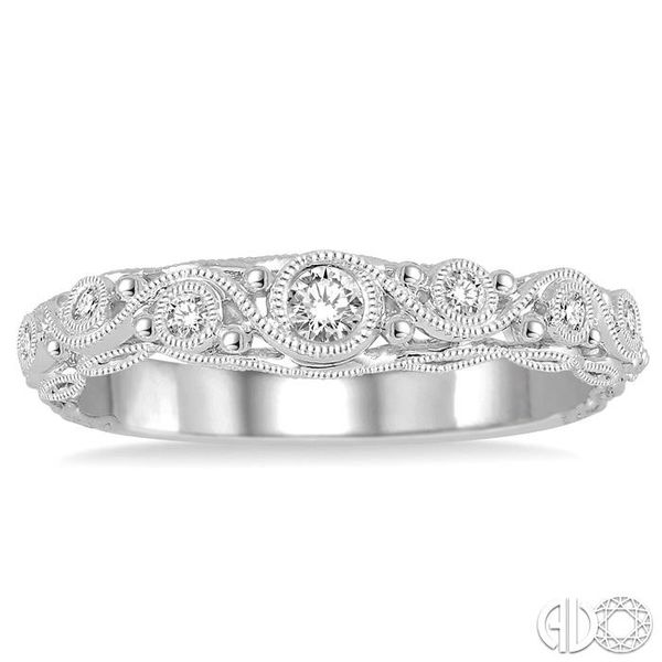 1/6 Ctw Round Cut Vintage Cutwork Diamond Wedding Band in 14K White Gold Image 2 Grogan Jewelers Florence, AL